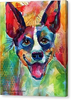 Canvas Print - Happy Rat Terrier Watercolor Portrait by Svetlana Novikova
