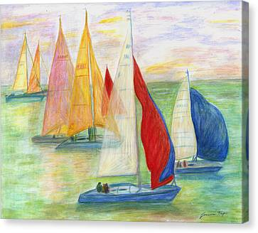 Canvas Print featuring the painting Happy Sailing by Jeanne Kay Juhos