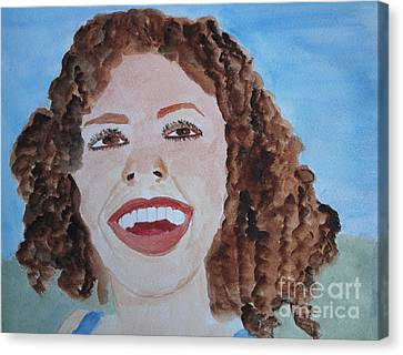 Canvas Print featuring the painting Happy by Sandy McIntire