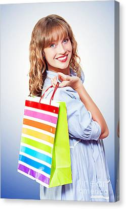 Happy Shopaholic Returning With Her Purchases Canvas Print by Jorgo Photography - Wall Art Gallery