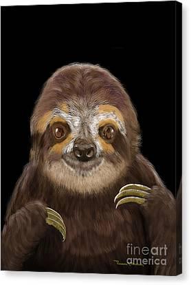Canvas Print featuring the mixed media Happy Three Toe Sloth by Thomas J Herring