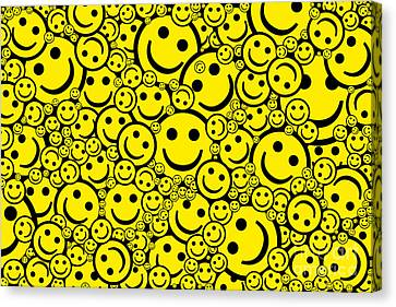 Happy Smiley Faces Canvas Print by Tim Gainey