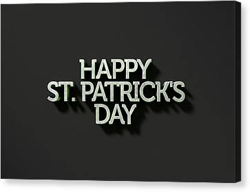 happy st patricks day Text On Black Canvas Print by Allan Swart
