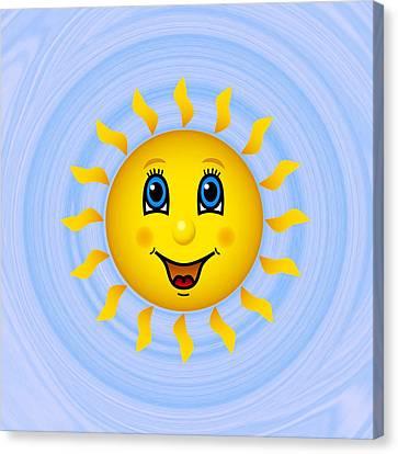 Happy Sun On Blue Sky Canvas Print by Miroslav Nemecek
