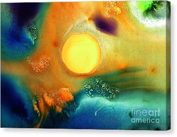Happy Sunrise Fluid Abstract Art Liquid Painting By Kredart Canvas Print by Serg Wiaderny