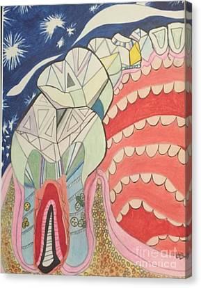 Happy Teeth Canvas Print by Michelle Reid
