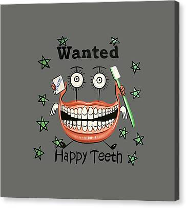 Happy Teeth T-shirt Canvas Print by Anthony Falbo