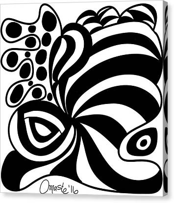Happy Thanksgiving 2016 Abstract Black And White Art By Omashte Canvas Print by Omaste Witkowski