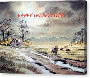Canvas Print featuring the painting Happy Thanksgiving  by Bill Holkham