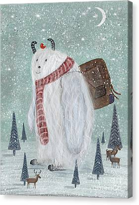 Snowman Canvas Print - Happy Trails by Bleu Bri