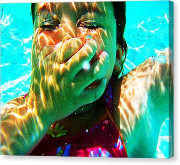 Happy Under Water Pool Girl Horizontal Canvas Print