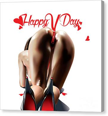 Canvas Print featuring the digital art Happy Vagina Day Or Valentines Xox by Brian Gibbs