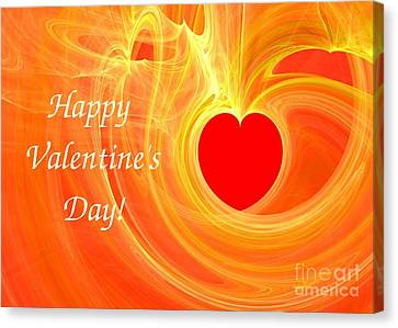 Happy Valentine Day Fractal Design Greeting Card Canvas Print by Yali Shi