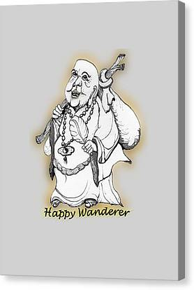 Buddha Sketch Canvas Print - Happy Wanderer by James Lewis Hamilton