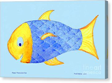 Happy Watercolor Fish Canvas Print