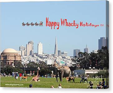 Happy Whacky Holidays Canvas Print by Wingsdomain Art and Photography