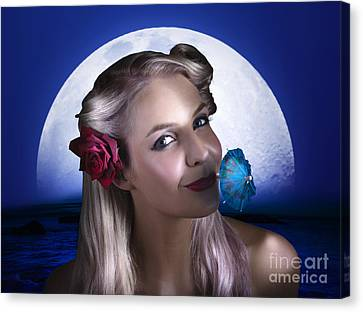 Happy Woman At Moon Light Beach Party Canvas Print by Jorgo Photography - Wall Art Gallery
