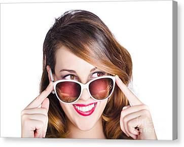 Youthful Canvas Print - Happy Woman In Fashionable Eyewear by Jorgo Photography - Wall Art Gallery
