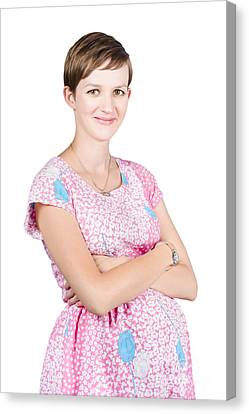 Happy Young Pregnant Woman In Pink Maternity Dress Canvas Print by Jorgo Photography - Wall Art Gallery