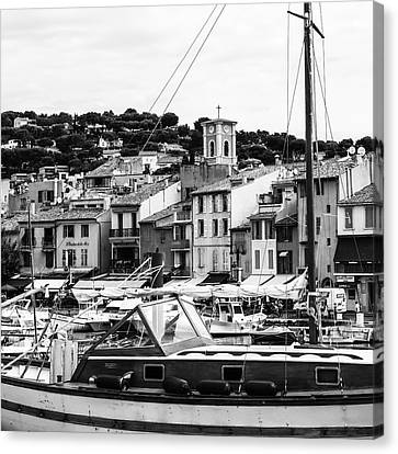 Harbor Boats In The South Of France - Square Canvas Print by Georgia Fowler