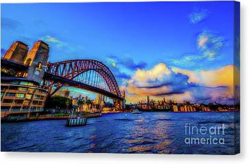 Canvas Print featuring the photograph Harbor Bridge by Perry Webster