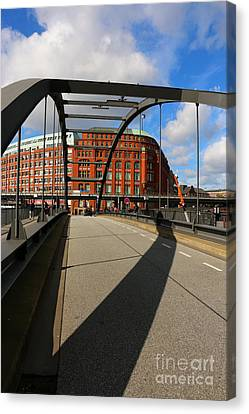 Harbor City Bridge Hamburg Canvas Print by Christiane Schulze Art And Photography