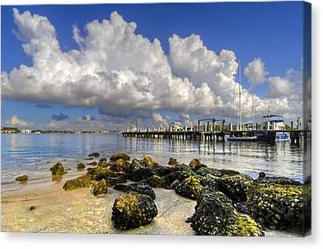 Harbor Clouds At Boynton Beach Inlet Canvas Print by Debra and Dave Vanderlaan