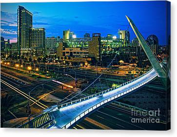 San Diego California Baseball Stadiums Canvas Print - Harbor Drive Pedestrian Bridge And Petco Park At Night by Sam Antonio Photography