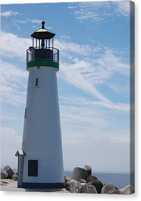 harbor lighthouse Santa Cruz Canvas Print by Garnett  Jaeger