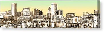 Harbor Lights From Federal Hill - Drawing Fx Canvas Print by Brian Wallace