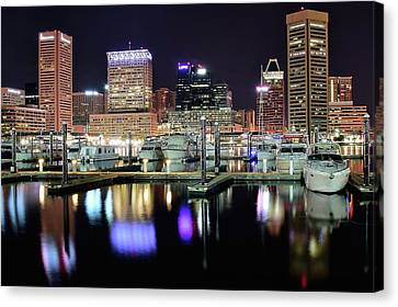 Harbor Nights In Baltimore Canvas Print by Frozen in Time Fine Art Photography
