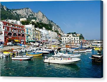 Harbor Of Isle Of Capri Canvas Print by Jon Berghoff