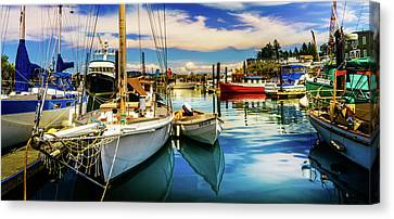 Harbor On Guemes Channel Canvas Print by TL  Mair