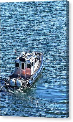 Harbor Police Patrol Boat Canvas Print by Richard Henne