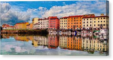 Harbor Reflections In Panoramic Canvas Print by Sue Melvin