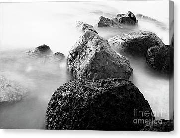 Harbor Rocks And Misty Ocean II Canvas Print by Charmian Vistaunet