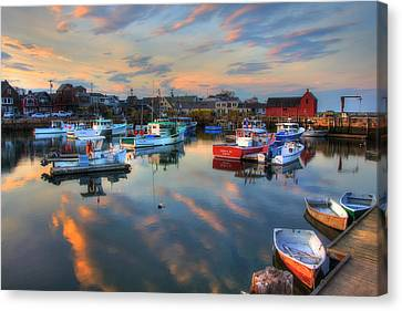 Canvas Print featuring the photograph Harbor Sunset In Rockport Ma by Joann Vitali