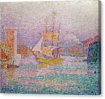 Signac Canvas Print - Harbour At Marseilles by Paul Signac