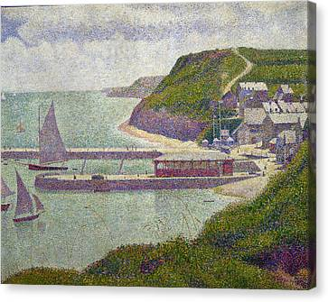 Harbour At Port En Bessin At High Tide Canvas Print by Georges Pierre Seurat