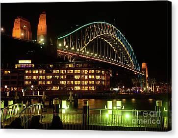 Hyatt Hotel Canvas Print - Harbour Bridge Aqua Gold Vivid Sydney 2016 By Kaye Menner by Kaye Menner