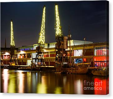 Canvas Print featuring the photograph Harbour Cranes by Colin Rayner