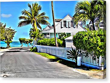 Harbour Island Street Canvas Print by Anthony C Chen