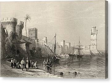Harbour Of Rhodes, Greece. Engraved By Canvas Print by Vintage Design Pics