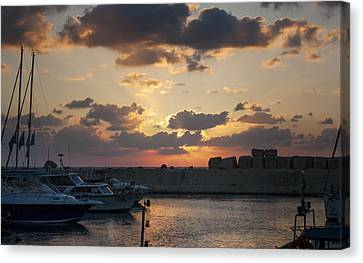 Harbour Sunset Canvas Print by Shiran Patael