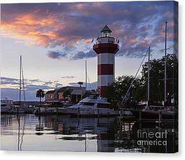 Harbour Town At Sunset Hilton Head Island Canvas Print by Louise Heusinkveld