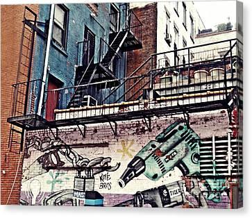 Hardware Graffiti Canvas Print by Sarah Loft