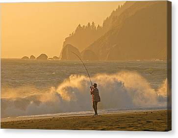 Hardy Fisherman On The California Coast Canvas Print by Ulrich Burkhalter