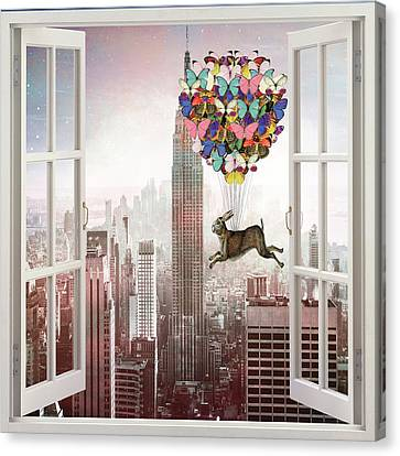 Times Square Canvas Print - Hare In Nyc by Suzanne Carter