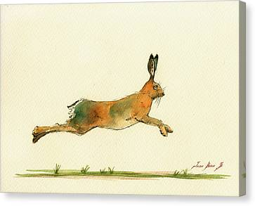 Hare Running Watercolor Painting Canvas Print by Juan  Bosco