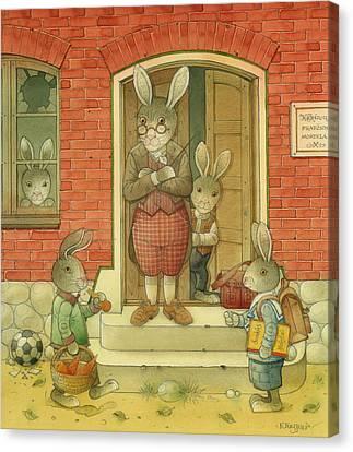 Hare School Canvas Print by Kestutis Kasparavicius